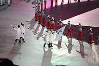 OLYMPIC GAMES: PYEONGCHANG: 09-02-2018, PyeongChang Olympic Stadium, Olympic Games, Opening Ceremony, unified Korean flag, ©photo Martin de Jong