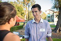 Occidental College student Abel Quintero '17 shares his InternLA experience working at Operation Hope during the Career Development Center's Reverse Career Fair, Thorne Hall patio, Sept. 3, 2015.<br /> (Photo by Marc Campos, Occidental College Photographer)