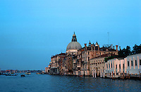 Venice:  Grand Canal in evening--Sant Maria Della Salute.  Photo '83.