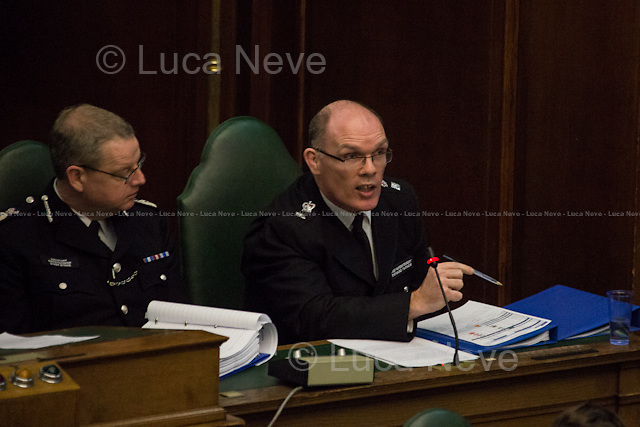 (From R to L) Richard Tucker &amp; Simon Byrne.<br /> <br /> London, 06/03/2014. MOPAC (Mayor's Office for Policing and Crime) meeting at Camden Town Hall, it is part of the 15 dates for the 2014 borough roadshow. The public meeting was hosted by Stephen Greenhalgh (Deputy Mayor for Policing and Crime), Simon Byrne (Assistant Commissioner in the Metropolitan Police Service, responsible for Territorial policing) and Richard Tucker (Detective Chief Superintendent, Borough Commander for Camden in the Metropolitan Police Service). Chair of the event was Councillor Abdul Hai (Labour Cabinet Member for Community Safety in Camden).