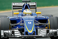 March 18, 2016: Marcus Ericsson (SWE) #9 from the Sauber F1 Team rounds turn 2 during practise session one at the 2016 Australian Formula One Grand Prix at Albert Park, Melbourne, Australia. Photo Sydney Low