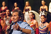 Cavalia founder and artistic director Normand Latourelle addresses the audience after a preview of the equestrian acrobatic show.
