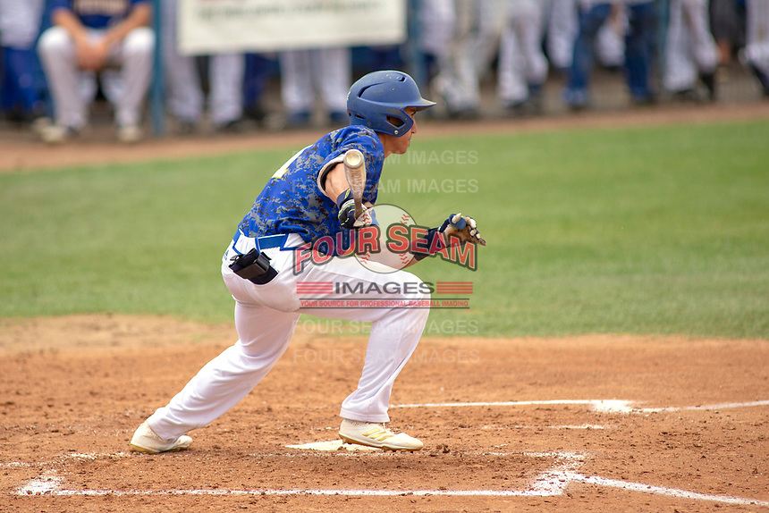 UC-Riverside Highlanders Colby Schultz (1) follows through on his swing against the Cal Poly San Luis Obispo Mustangs at Riverside Sports Complex on May 26, 2018 in Riverside, California. The Cal Poly SLO Mustangs defeated the UC Riverside Highlanders 6-5. (Donn Parris/Four Seam Images)