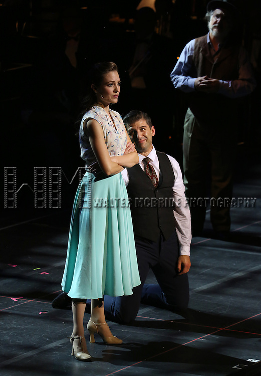 """Laura Osnes, Tony Yazbeck and Mark Linn-Baker during the Manhattan Concert Productions 25th Anniversary concert performance of """"Crazy for You"""" at David Geffen Hall, Lincoln Center on February 19, 2017 in New York City."""