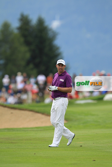 Padraig Harrington (IRL) on the 17th hole during Saturday's Round 3 of the 2013 Omega European Masters held at Crans Montana Golf Club, Crans-Sur-Sierre Switzerland. 7th September 2013.<br /> Picture: Eoin Clarke www.golffile.ie