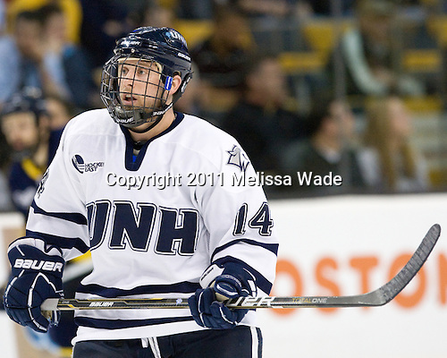 Mike Borisenok (UNH - 14) - The Merrimack College Warriors defeated the University of New Hampshire Wildcats 4-1 (EN) in their Hockey East Semi-Final on Friday, March 18, 2011, at TD Garden in Boston, Massachusetts.