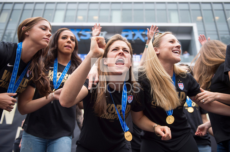 Los Angeles, California - July 7, 2015:  A victory rally was held for the USWNT at LA Live.