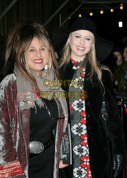 "ELIZABETH EMMANUEL & GUEST.VIP Gala Premiere of Cirque de Soleil's ""Quidam"" at the Royal Albert Hall, London, England,  January 6th 2009.Cirque de Soleil half length grey gray floral embroidered scarf red velvet coat lipstick .CAP/AH.©Adam Houghton/Capital Pictures"