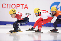 "SHORT TRACK: MOSCOW: Speed Skating Centre ""Krylatskoe"", 14-03-2015, ISU World Short Track Speed Skating Championships 2015, Final A 1500m Men, Semen ELISTRATOV (#152   RUS), Charles HAMELIN (#110   CAN), Sjinkie KNEGT (#148  NED), ©photo Martin de Jong"