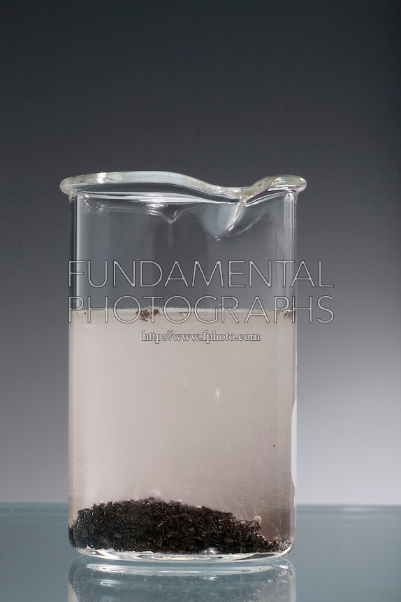 IRON FILINGS IN HYDROCHLORIC ACID<br /> Single Replacement Reaction<br /> The iron displaces the hydrogen from the HCl forming bubbles of hydrogen gas.