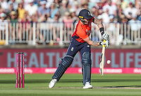 England's Jason Roy punches the first ball of the innings for four runs<br /> <br /> Photographer Andrew Kearns/CameraSport<br /> <br /> Only IT20 - Vitality IT20 Series - England v Australia - Wednesday 27th June 2018 - Edgbaston - Birmingham<br /> <br /> World Copyright &copy; 2018 CameraSport. All rights reserved. 43 Linden Ave. Countesthorpe. Leicester. England. LE8 5PG - Tel: +44 (0) 116 277 4147 - admin@camerasport.com - www.camerasport.com