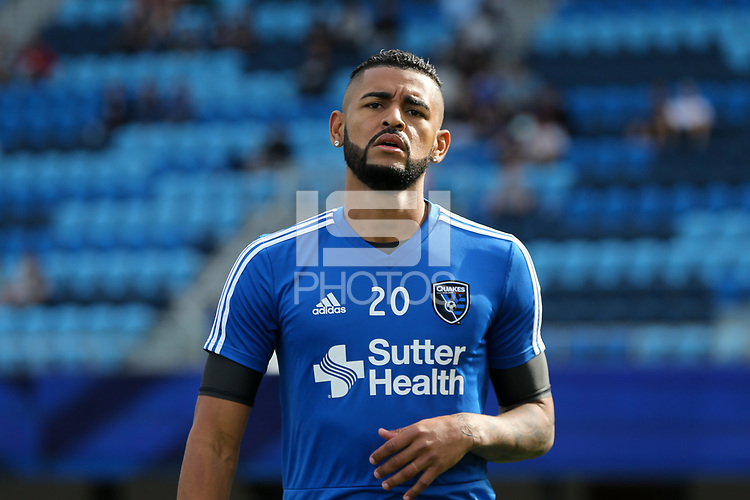 San Jose, CA - Saturday March 31, 2018: Anibal Godoy prior to a Major League Soccer (MLS) match between the San Jose Earthquakes and New York City FC at Avaya Stadium.