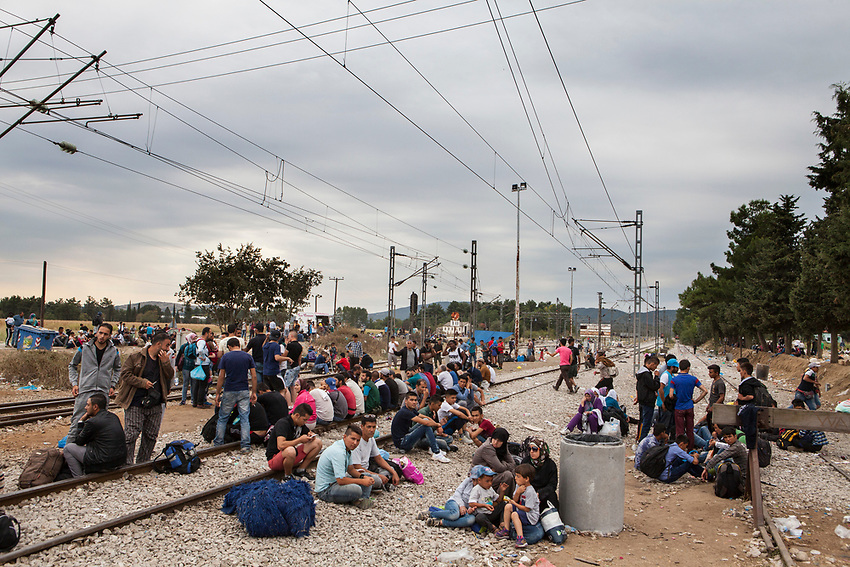 Refugees at Eidomeni, Greece Border crossing ( Greek side) rest inor near the raiway tracks as they wait to cross into Macedonia