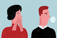 Contrast between man with speech bubble and woman covering her mouth