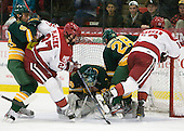 Chase Fuchs (Clarkson - 59), Petr Placek (Harvard - 27), Paul Karpowich (Clarkson - 33), Andrew Himelson (Clarkson - 26), Tommy O'Regan (Harvard - 13) - The Harvard University Crimson defeated the visiting Clarkson University Golden Knights 3-2 on Harvard's senior night on Saturday, February 25, 2012, at Bright Hockey Center in Cambridge, Massachusetts.