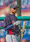 11 March 2013: Atlanta Braves catcher Christian Bethancourt awaits his turn in the batting cage prior to a Spring Training game against the Washington Nationals at Space Coast Stadium in Viera, Florida. The Braves defeated the Nationals 7-2 in Grapefruit League play. Mandatory Credit: Ed Wolfstein Photo *** RAW (NEF) Image File Available ***