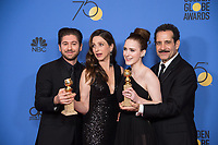 For BEST TELEVISION SERIES - MUSICAL OR COMEDY, the Golden Globe is awarded to &quot;The Marvelous Mrs. Maisel&quot; (AMAZON).  Actors Michael Zegen, Marin Hinkle, Rachel Brosnahan and Tony Shalhoub pose with the award backstage in the press room at the 75th Annual Golden Globe Awards at the Beverly Hilton in Beverly Hills, CA on Sunday, January 7, 2018.<br /> *Editorial Use Only*<br /> CAP/PLF/HFPA<br /> &copy;HFPA/PLF/Capital Pictures