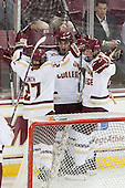 Quinn Smith (BC - 27), Chris Calnan (BC - 11), Patrick Brown (BC - 23) - The Boston College Eagles defeated the visiting St. Francis Xavier University X-Men 8-2 in an exhibition game on Sunday, October 6, 2013, at Kelley Rink in Conte Forum in Chestnut Hill, Massachusetts.