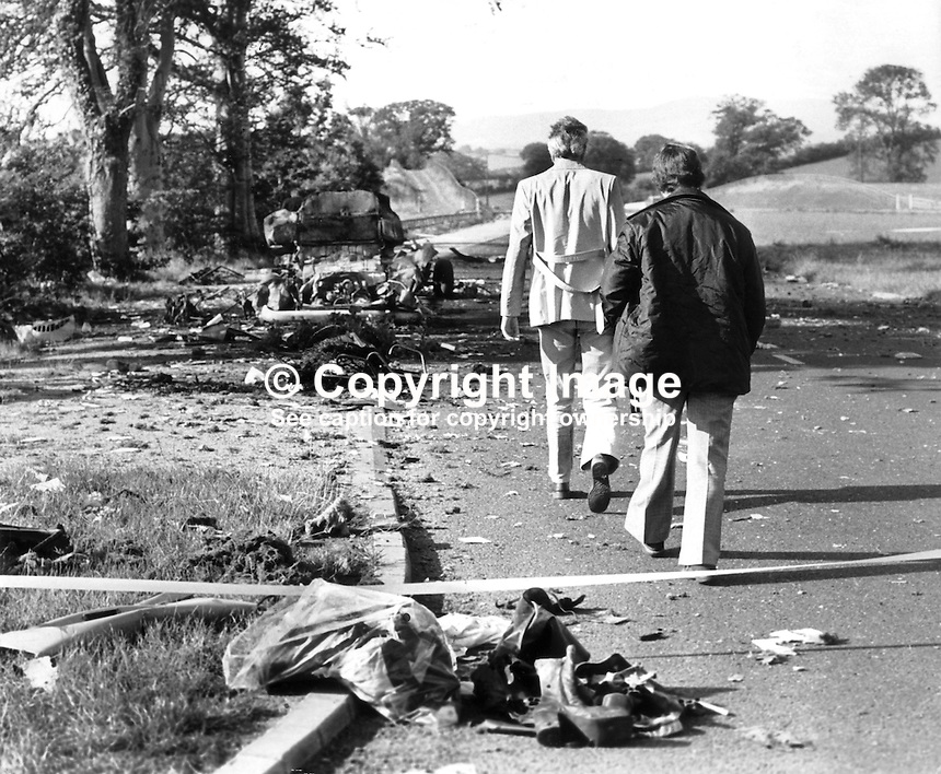 The scene of the overnight 31st July 1975 incident in which 3 members of the Rep of Ireland based Miami Showband and 2 members of the Ulster Defence Regiment died. The showband members were travelling home after appearing at the Castle Ballroom in Banbridge, Co Down, N Ireland when they were stopped at what they thought was a legitimate army vehicle check. The bandsmen were standing outside the vehicle while it was being searched when the bomb which the two soldiers were planting in the vehicle exploded prematurely killing them.  Another solder then opened fire killing 3 band members and injuring two others. It transpired that all the UDR checkpoint solders were also members of the Protestant Ulster Volunteer Force, the UVF. The UVF intention was that the bomb would explode later as the band travelled south and they would then be accused of carrying bombs for the Provisional IRA.<br />