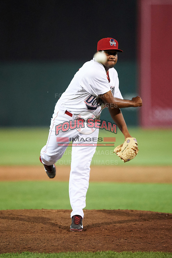 Auburn Doubledays relief pitcher Angher Cespedes (27) during a game against the Vermont Lake Monsters on July 12, 2016 at Falcon Park in Auburn, New York.  Auburn defeated Vermont 3-1.  (Mike Janes/Four Seam Images)