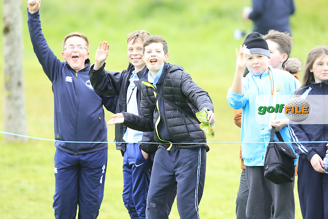 School children enjoying Thursday's Round 1 of the 2016 Dubai Duty Free Irish Open hosted by Rory Foundation held at the K Club, Straffan, Co.Kildare, Ireland. 19th May 2016.<br /> Picture: Eoin Clarke | Golffile<br /> <br /> <br /> All photos usage must carry mandatory copyright credit (&copy; Golffile | Eoin Clarke)