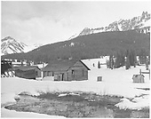Lizard Head RGS depot/section house and outbuildings in early spring.<br /> RGS  Lizard Head, CO  Taken by Chione, A. G. - spring 1952