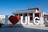 Mongolia, Bayan-Ulgii, Ulgii.  I love Ulgii sign.