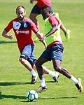 Getafe's Francisco Molinero (l) and Djene Dakoman during training session. September 12,2017.(ALTERPHOTOS/Acero)