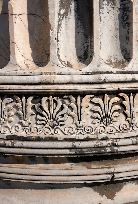 Picture of a  column frieze from the ruins of the Ancient Ionian Greek  Didyma Temple of Apollo & home to the Oracle of Apollo.  Also known as the Didymaion completed circa 550 BC. modern Didim in Aydin Province, Turkey.