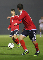 Gor Malakyan plays the ball through in the Armenia v Switzerland UEFA European Under-19 Championship Qualifying Round match at New Douglas Park, Hamilton on 11.10.12.