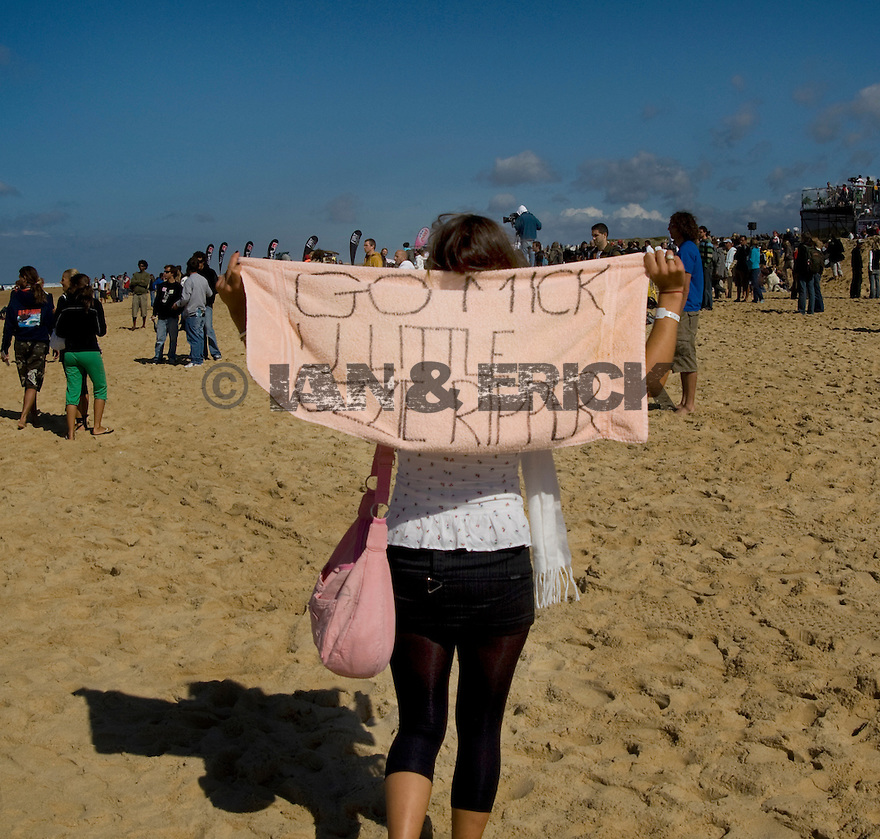 Fan of Mick Fanning on the beach at Hossegor in the south of France.