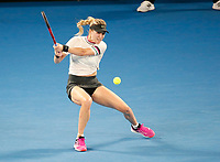 17th January 2019, Melbourne Park, Melbourne, Australia; Australian Open Tennis, day 4; Eugenie Bouchard of Canada returns the ball in the match against Serena Williams of USA