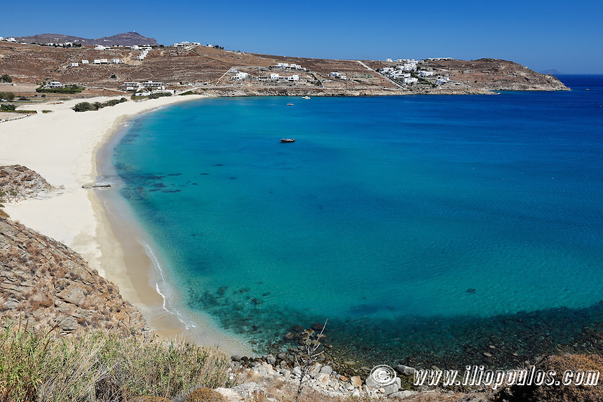 Kalo Livadi is one of the most famous beaches in Mykonos, Greece