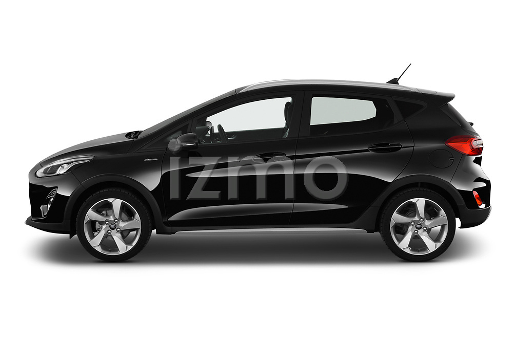 Car driver side profile view of a 2019 Ford Fiesta  Active-3 5 Door Hatchback