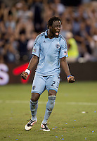 Kei Kamara (23) of Sporting Kansas City celebrates after taking a penalty kick at Livestrong Sporting Park in Kansas City, Kansas.   Sporting Kansas City won the Lamar Hunt U.S. Open Cup on penalty kicks after tying the Seattle Sounders in overtime.