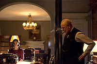 Darkest Hour (2017) <br /> Lily James stars as Elizabeth Layton and Gary Oldman as Winston Churchill <br /> *Filmstill - Editorial Use Only*<br /> CAP/KFS<br /> Image supplied by Capital Pictures