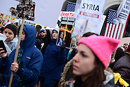 Washington, DC - January 20, 2017: Hundreds of protestors gather in front of Union Station in the District of Columbia during the inauguration of Donald J. Trump as the 45th President of the United States, January 20, 2017.  (Photo by Don Baxter/Media Images International)