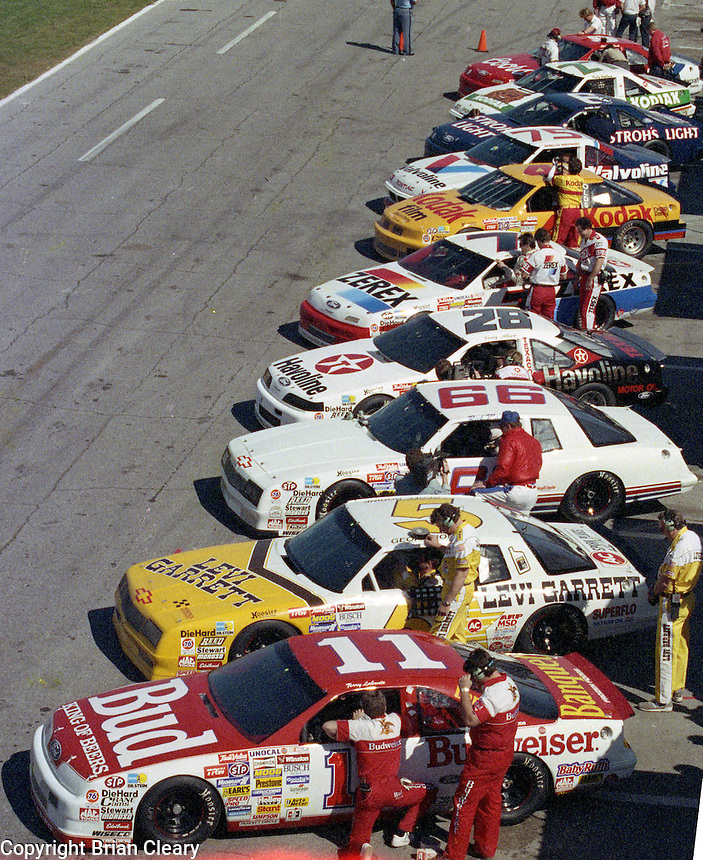 busch pole clash cars lined up pit road  at Daytona International Speedway on February 1989.  (Photo by Brian Cleary/www.bcpix.xom)