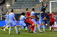 Chester, PA - Friday December 08, 2017: James Pyle is unable to block a cross leading to the goal. The Indiana Hoosiers defeated the North Carolina Tar Heels 1-0 during an NCAA Men's College Cup semifinal soccer match at Talen Energy Stadium.