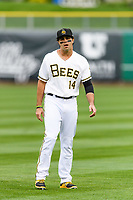 Ryan LaMarre (14) of the Salt Lake Bees warms up in the outfield before the game against the Sacramento River Cats in Pacific Coast League action at Smith's Ballpark on April 11, 2017 in Salt Lake City, Utah. The River Cats defeated the Bees 8-7. (Stephen Smith/Four Seam Images)