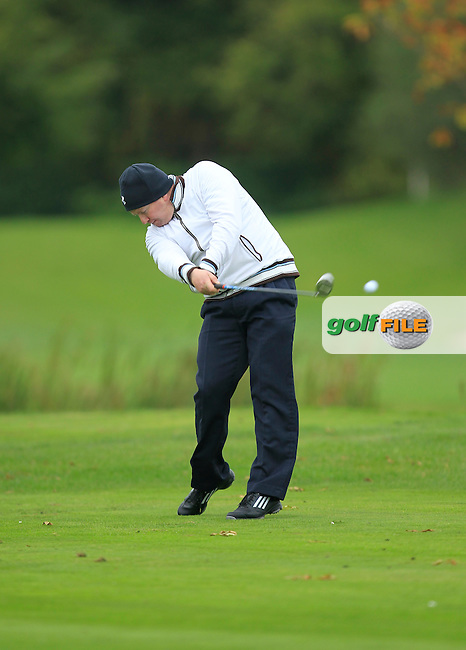 Noel Callan (Faughan Valley G.C) on the 15th tee during Round 3 of The Cassidy Golf 103rd Irish PGA Championship in Roganstown Golf Club on Saturday 12th October 2013.<br /> Picture:  Thos Caffrey / www.golffile.ie