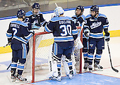 Mike Cornell (Maine - 2), Will O'Neill (Maine - 27), Dan Sullivan (Maine - 30), Adam Shemansky (Maine - 26)-, Jon Swavely (Maine - 18) - The University of Minnesota Duluth Bulldogs defeated the University of Maine Black Bears 5-2 in their NCAA Northeast semifinal on Saturday, March 24, 2012, at the DCU Center in Worcester, Massachusetts.