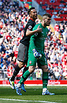 Maya Yoshida of Southampton celebrates the penalty save made by Fraser Forster of Southampton during the English Premier League match at Anfield Stadium, Liverpool. Picture date: May 7th 2017. Pic credit should read: Simon Bellis/Sportimage