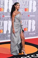 Vick Hope<br /> arriving for the BRIT Awards 2019 at the O2 Arena, London<br /> <br /> ©Ash Knotek  D3482  20/02/2019<br /> <br /> *images for editorial use only*