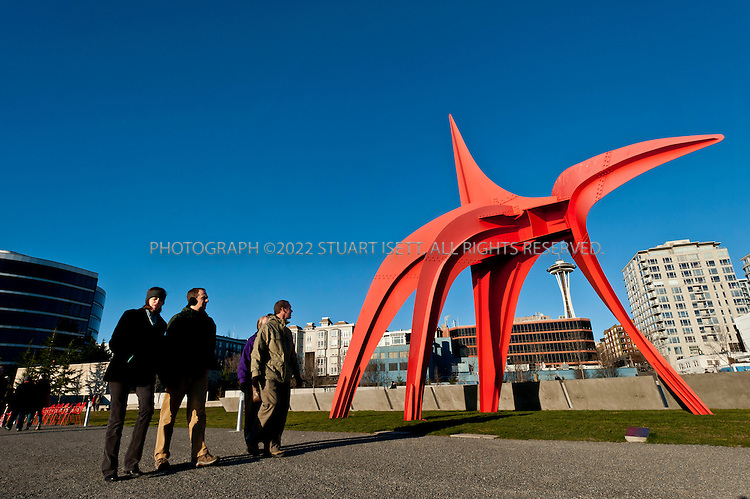 2/19/2011--Seattle, WA, USA..Alexander Calder's spider-like 'Eagle' sculpture at the Olympic Sculpture Park in Seattle overlooking Elliot Bay and the Olympic Mountains. The Seattle Art Museum opened the Olympic Sculpture Park (2901 Western Avenue, 206-654-3100; www.seattleartmuseum.org) on a 9-acre former industrial site on the north end of downtown...©2011 Stuart Isett. All rights reserved.
