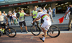 World Champion Peter Sagan (SVK) Tinkoff-Saxo does a quick pit stop during Stage 4, The Yas Stage, of the 2015 Abu Dhabi Tour running 110 km 20 laps around the Yas Marina Circuit, Abu Dhabi. 11th October 2015.<br /> Picture: ANSA/Claudio Peri | Newsfile