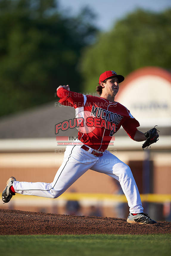 Batavia Muckdogs starting pitcher Ryan McKay (27) during a game against the Brooklyn Cyclones on July 5, 2016 at Dwyer Stadium in Batavia, New York.  Brooklyn defeated Batavia 5-1.  (Mike Janes/Four Seam Images)