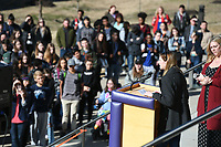 NWA Democrat-Gazette/J.T. WAMPLER More than a thousand Fayetteville High School students attend a rally at the school Wednesday March 14, 2018 in solidarity with Stoneman Douglas High School students. The names of recently killed students were read and around 300-400 students participated in a march to the Washington County Courthouse.