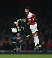 Arsenal's Pierre-Emerick Aubameyang and Napoli's Elseid Hysaj<br /> <br /> Photographer Rob Newell/CameraSport<br /> <br /> UEFA Europa League First Leg - Arsenal v Napoli - Thursday 11th April 2019 - The Emirates - London<br />  <br /> World Copyright © 2018 CameraSport. All rights reserved. 43 Linden Ave. Countesthorpe. Leicester. England. LE8 5PG - Tel: +44 (0) 116 277 4147 - admin@camerasport.com - www.camerasport.com