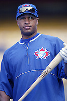 Vernon Wells of the Toronto Blue Jays before a 2002 MLB season game against the Los Angeles Dodgers at Dodger Stadium, in Los Angeles, California. (Larry Goren/Four Seam Images)